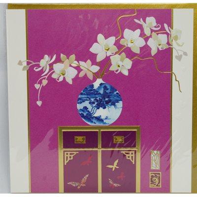card orchid e pot chinois sur meuble. Black Bedroom Furniture Sets. Home Design Ideas