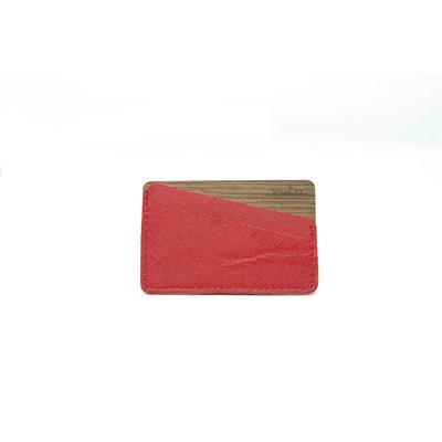 Porte-Cartes - Rouge / Wengue